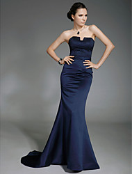 Mermaid / Trumpet Strapless Sweep / Brush Train Satin Formal Evening Military Ball Dress with Beading by TS Couture®