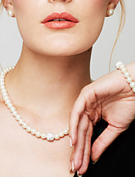 cheap -Women's Jewelry Set / Chain Bracelet / Strands Necklace  -  Pearl, Imitation Diamond Fashion, Elegant, Bridal White Necklace For Wedding, Party, Daily / Pearl Necklace / Earrings