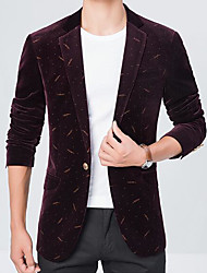 Men's Casual/Daily Work Simple Fall Blazer,Print Peaked Lapel Long Sleeve Regular Polyester