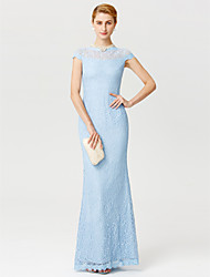 cheap -Sheath / Column Illusion Neck Floor Length Lace Mother of the Bride Dress with Lace by LAN TING BRIDE®