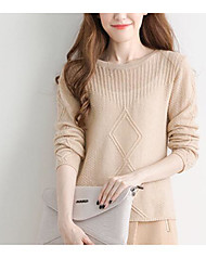 Women's Casual/Daily Going out Vintage Simple Cute Short Pullover,Solid Geometric Print Turtleneck Long Sleeves Wool Cotton Polyester