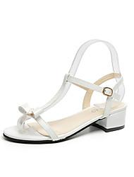 preiswerte -Damen Sandalen Komfort Pumps PU Frühling Sommer Kleid Party & Festivität Schnalle Blockabsatz Weiß Schwarz Rosa 5 - 7 cm
