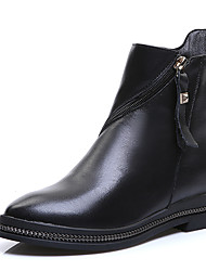 baratos -Mulheres Sapatos Couro / Pele Outono / Inverno Botas de Montaria / Botas da Moda / Curta / Ankle Botas Salto Baixo / Salto Robusto Dedo