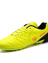 abordables -Hombre Zapatillas de Atletismo Confort Cuero Primavera Otoño Deportivo Casual Fútbol Con Cordón Tacón Plano Negro Naranja Amarillo Plano