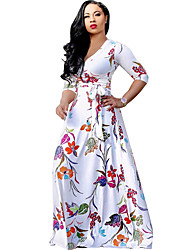 Women's V Neck Foral Print Beach Boho Swing Maxi Long Sleeve Dress