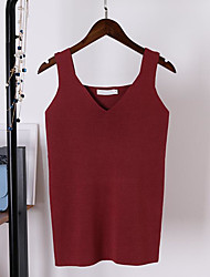 cheap -Women's Daily Casual Tank Top,Solid V Neck Sleeveless Cotton