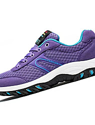 cheap -Women's Shoes PU Spring Fall Light Soles Athletic Shoes Flat Heel Round Toe Lace-up For Casual Dark Blue Purple Fuchsia Black/White Royal