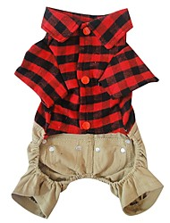 Dog Costume Dog Clothes Cosplay Plaid/Check Ruby