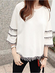 Women's Casual/Daily Simple T-shirt,Striped Round Neck 3/4 Length Sleeves Polyester