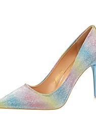 cheap -Women's Shoes Leatherette Winter Fall Comfort Heels Stiletto Heel Pointed Toe for Dress Party & Evening Black Rainbow Silver Blue Pink