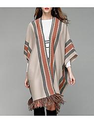 Lungo Cloak / Capes Da donna-Casual Semplice A strisce A V Mezza manica Acrilico Autunno Inverno Medio spessore Media elasticità