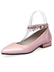 Women's Sandals Comfort Basic Pump Spring Summer PU Dress Party & Evening Rhinestone Imitation Pearl Chunky Heel White Black Blushing Pink