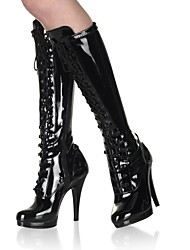 cheap -Women's Shoes PU Winter Fashion Boots Boots Stiletto Heel Round Toe Knee High Boots Lace-up for Party & Evening Black