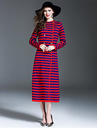 ANGEL Women's Casual/Daily Sheath DressStriped Round Neck Midi Long Sleeves Wool Acrylic Fall Winter High Rise Micro-elastic Medium