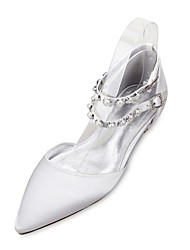 cheap -Women's Wedding Shoes Comfort Mary Jane D'Orsay & Two-Piece Spring Summer Satin Wedding Dress Party & Evening Pearl Imitation Pearl Flat