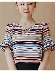 preiswerte -Damen Gestreift Einfach Lässig/Alltäglich Bluse,V-Ausschnitt Kurzarm Andere