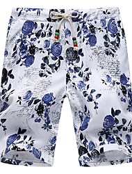 cheap -Men's Plus Size Cotton Loose Shorts Pants - Floral Jacquard
