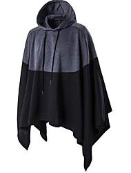 cheap -Men's Long Plus Size Cotton Cloak / Capes - Color Block Hooded / Long Sleeve