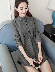 Women's Casual/Daily Simple Fall Winter Shirt,Striped Peter Pan Collar Long Sleeves Cotton Medium