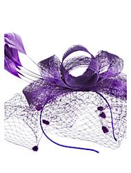 economico -copricapo di fiori di seta piuma di tulle netto elegante stile copricapo