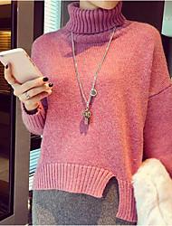 Normal Pullover Femme Décontracté / Quotidien Couleur Pleine Col Roulé Manches Longues Autres Automne Moyen Micro-élastique
