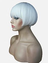 abordables -Pelucas sintéticas Recto Corte Bob / Corte Pixie / Corte a capas Pelo sintético Entradas Naturales Blanco Peluca Mujer Corta Sin Tapa