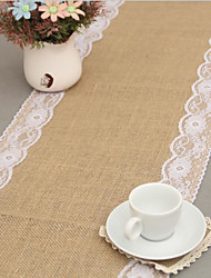 1 Piece 30 Cm * 275 Cm Linen Lace Desk Flag/Christmas Party Craft Wedding Decoration