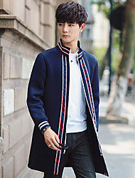 cheap -Men's Daily Going out Plus Size Simple Casual Spring Fall Jacket,Solid Striped Stand Long Sleeve Regular Cotton Polyester Spandex Others