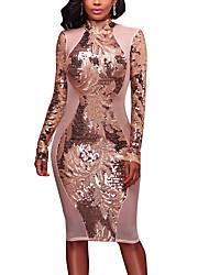 abordables -Femme Soirée Quotidien Rétro Sexy Chic de Rue Mi-long Robe Moulante Dos Nu Paillettes Mosaïque Col Ras du Cou Manches Longues Printemps