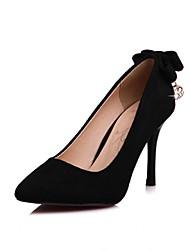 Femme Chaussures à Talons Confort Printemps Automne Flocage Strass Noeud Talon Aiguille Noir Gris Rose 7,5 à 9,5 cm