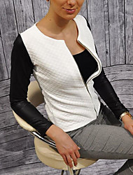 Women's Casual/Daily Simple Spring Jacket,Color Block Round Neck Long Sleeve Regular Polyester