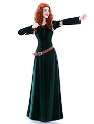 cheap -Princess Queen Brave Merida Cosplay Costume Masquerade Party Costume Movie Cosplay Dark Green Dress Belt Wig Christmas Halloween Carnival