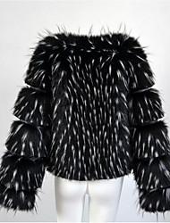 Cappotto di pelliccia Da donna Casual Semplice Autunno Inverno,Tinta unita A V Pelliccia di volpe Pelliccia di procione StandardManica