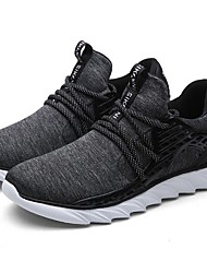 Men's Athletic Shoes Comfort Light Soles Fall Winter Tulle Fabric Running Shoes Athletic Casual Outdoor Lace-up Low Heel Black Gray Dark