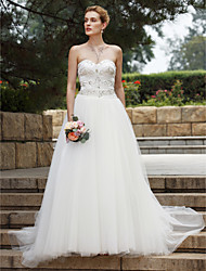 cheap -Ball Gown Sweetheart Sweep / Brush Train Lace Tulle Wedding Dress with Beading Lace Draped by LAN TING BRIDE®