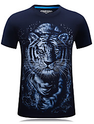 cheap -Men's Sports Active Plus Size Cotton T-shirt Tiger, Print Round Neck