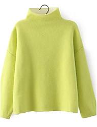 Standard Pullover Da donna-Per uscire Casual Semplice Romantico Tinta unita A collo alto Manica lunga Cotone Altro Primavera Autunno