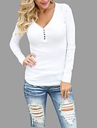 Standard Pullover Da donna-Casual Sensuale Tinta unita A V Manica lunga Cotone Autunno Medio spessore Media elasticità