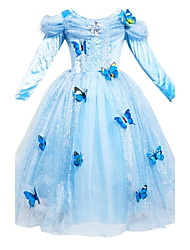 Girl's Cinderella Princess SkirtButterfly V Collar Gauze Dress