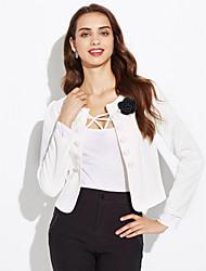 Недорогие -Для женщин На каждый день Весна осень Костюм Рубашечный воротник,просто Однотонный Обычная Длинный рукав,Полиэстер