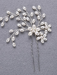 abordables -Pierre Précieuse & Cristal Tulle Imitation de perle Casque Épingle à cheveux with Cristal Plume 1 Mariage Occasion spéciale Halloween