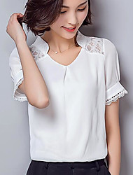 cheap -Women's Shirt - Solid Colored V Neck