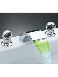 abordables -Color Cambiante Cristal Muy Difundido Cristal Cascada Luces Luz LED Válvula Cerámica Dos asas de tres agujeros Cromo, Baño grifo del
