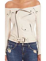 Women's Casual/Daily Simple Fall Leather Jacket,Solid Peaked Lapel Long Sleeve Short PU