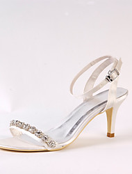 cheap -Women's Shoes Silk Spring Summer Basic Pump Wedding Shoes Stiletto Heel Peep Toe Rhinestone Chain for Wedding Dress Party & Evening Ivory