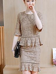 preiswerte -Damen Solide Einfach Lässig/Alltäglich Bluse Rock Anzüge,U-Ausschnitt Sommer Kurzarm