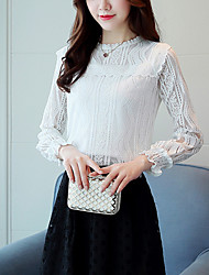 Women's Going out Work Cute Street chic Spring Fall Slim Lace Blouse Embroidery Round Neck Long Sleeve White Polyester Nylon Medium