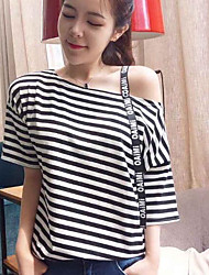cheap -Women's Daily Sexy T-shirt,Solid Striped One Shoulder Short Sleeves Cotton