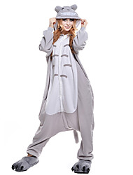 Kigurumi Pajamas Cat Totoro Leotard/Onesie Festival/Holiday Animal Sleepwear Halloween Gray Patchwork Coral fleece Kigurumi For Unisex