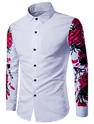 cheap -Men's Weekend Cotton Slim Shirt - Solid, Print Classic Collar